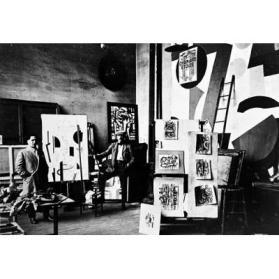 Fernand Leger in His Studio with Maurice Raynal