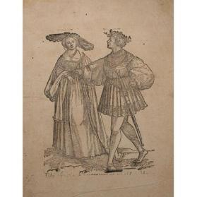 Woman in a Broad Rimmed Hat Accompanied by a Man