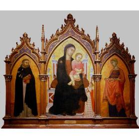 Madonna and Child Enthroned with Donors and Saints Dominic and Elizabeth of Hungary