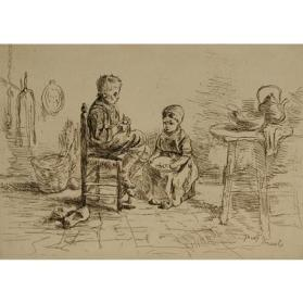 Two Children Sitting in a Kitchen