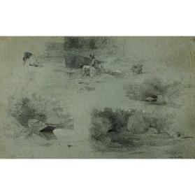 Four Study Sketches (River Scenes with Figures)