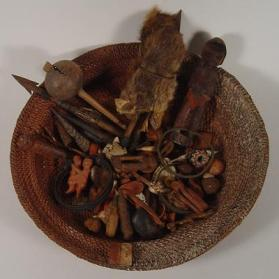 Diviner's Basket (Ngombo Ya Cisuka) and Miniature Divination Figures (Tuphele)