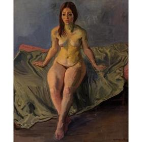 Nude Model on a Green Cot