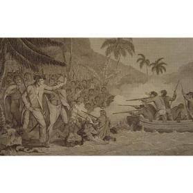 An Exact Representation of the Death of Captn. James Cook, F.R.S. at Karakakooa Bay, in Owhyhee, on Feby. 14, 1779.  Accurately Engraved from a Drawing made on the spot purposely for this Work by A. Hogg.